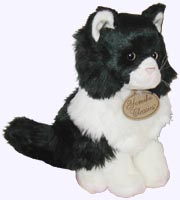9 in. Plush Black and White Cat