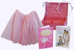 Little Box of Ballet includes a tutu, rosebud headband and a satin necklace with two silver slippers.
