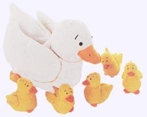 Five Little Ducks Puppet Set - a plump Mother Duck is 9in. long and the Little Ducks are 3 in. long