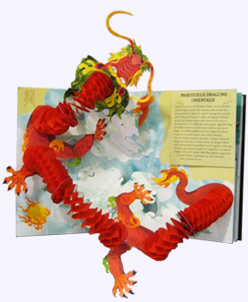Open page of Dragons and Monsters Pop-up Book