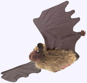 6 in. Brown Bat Puppet with a 13 in. wingspan
