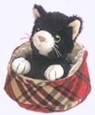 4 in. Cat in bed finger puppet