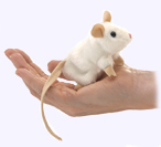 4 in. White Mouse Finger Puppet