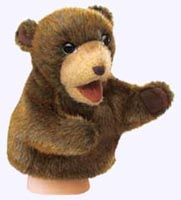 8 in. Plush Brown Bear Puppet for small hands.