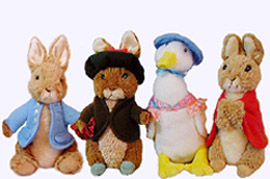 Set of four Beatrix Potter Plush Storybook Characters