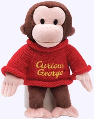 12 in. Curious George Plush wearing a sweater