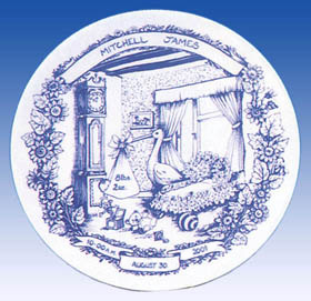 Heron Staffordshire Blue Birthplate