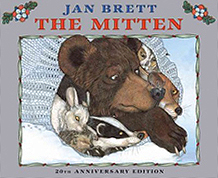 Jan Brett's The Mitten 20th Anniversary Edition Hardcover Picture Book