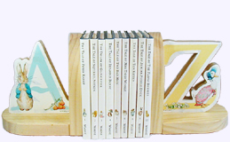 6 in. high wooden bookends with Peter Rabbit images