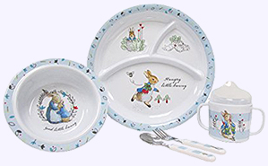 5 pc. Peter Rabbit Melamine Feeding Set