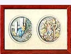 Beatrix Potter Framed Cameos of Peter Rabbit.