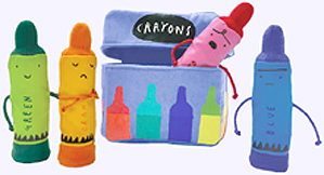Four 5 in. Crayon Finger Puppets in a sturdy fabric box.