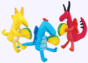 Three 5 in. Mini Dragons Love Tacos in a set.