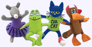 5 - 6.5 in. Pete the Cat and Three Friends Plush Dolls