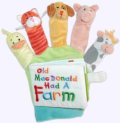 Velour covered Board Book with Old Macdonald Finger Puppets