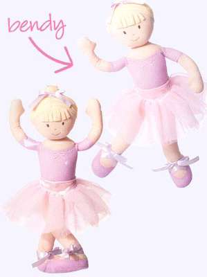 14 in. Blonde Ballerina Plseable Soft Doll