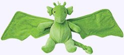 5.5 in. Plush Green Dragon with 12 in. wingspan