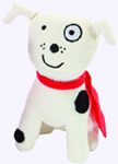 6 in. Plush White Dog with Black Spots from Todd Parr Doggy Kisses
