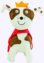 10 in. Plush White Dog with Tan Spots, crown and cape from Todd Parr Books