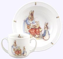 2 pc. Peter Rabbit and Family Porcelain Toddler Set