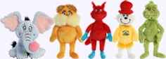 Dr. Seus - Horton, Lorax, Fox in Socks, Sam-I-Am, and Grinch Plush