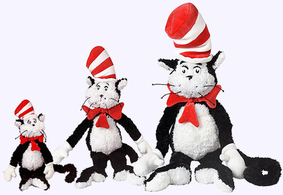 Three sizes of Cat in the Hat Plush Dolls