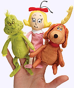 Grinch Finger Puppet Set, The Grinch, the Grinch's dog Max and Cindy-Lou Who