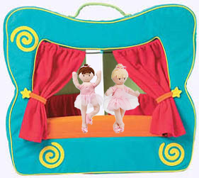 Puppetto's Theatre Stage. A soft and colorful finger puppet theater